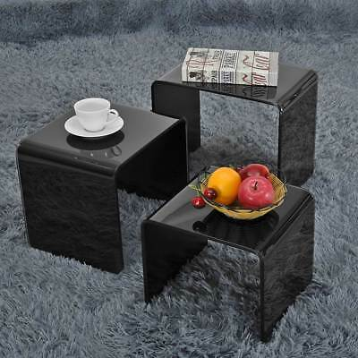 Nest Of 3 Coffee Tables Side End Table Set Living Room Furniture Bent Glasses UK • 79.99£