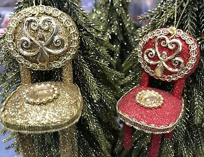 Glitter Jewelled Chair Christmas Tree Decoration By Gisela Graham  FREE POSTAGE • 4.99£