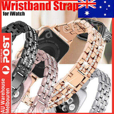 AU15.25 • Buy For Apple Watch Series 5 4 3 2 Bling Stainless Steel Bracelet IWatch Band Strap