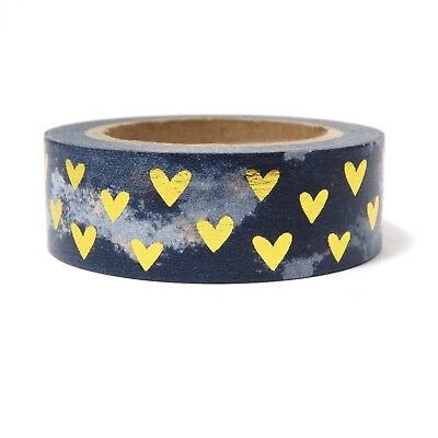 AU5.50 • Buy Foil Washi Tape Gold Heart Navy Blue Cloud 15mm X 10m
