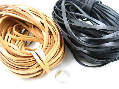 £2.99 • Buy 5MM Flat Leather Thread Cord For Necklace Bracelet Craft Bag Leather Cord Thong