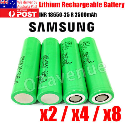 AU12.95 • Buy 2x Samsung INR1865 25R 2500mAh 20A Lithium High Drain Rechargeable Battery