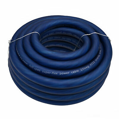 $84.99 • Buy 25ft Feet 1/0 GA Gauge AWG Power Cable Wire Tinned OFC Copper Ground Frost Blue
