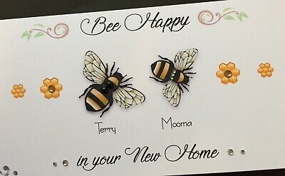 Handmade Personalised 'BE HAPPY' New Home Card • 4.30£