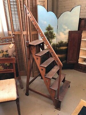 $1462.50 • Buy Rare Mid 19th Century Neo Gothic English Oak Library Steps Athenaeum Archive