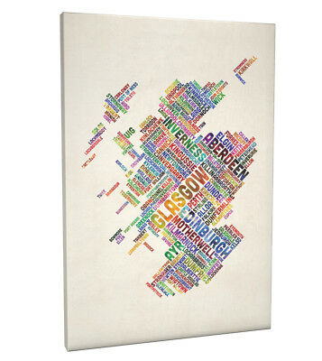 Scotland Typography Text Map Box Canvas And Poster Print (1486) • 13.99£
