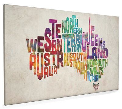 £22.99 • Buy Australia Typography Text Map Box Canvas And Poster Print (893)