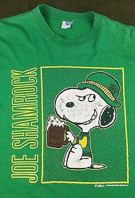 $ CDN40.03 • Buy Vintage Mens L 70s 80s Peanuts Snoopy Joe Shamrock St Patricks Day Green T-Shirt