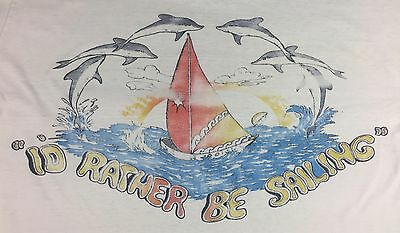 $ CDN63.27 • Buy Vintage Mens S/M 70s 80s Hawaii Rather Be Sailing Dolphins Beach Surf T-Shirt