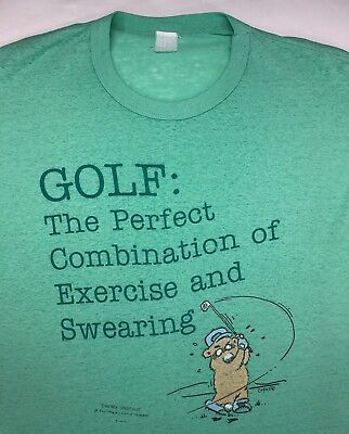 $ CDN40.03 • Buy Vintage Mens L/XL 70s 80s Threadbare Funny Golf Exercise Swearing Green T-Shirt