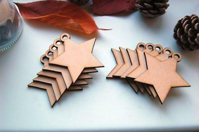10x Laser Cut Wooden Christmas STAR MDF Gift Cristmas Tags Craft Stars Shape • 3.49£