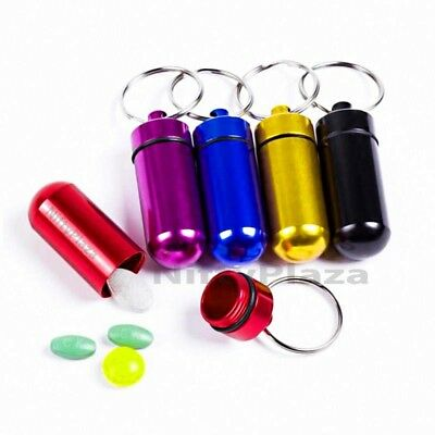 $6.49 • Buy Colorful Pill Box Bottle Holder Mini Waterproof Aluminum Container Keychain Case
