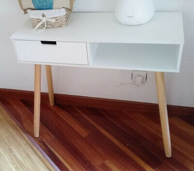 £65.80 • Buy Scandinavian Console Table Desk With Drawer Hallway Living Room Furniture White