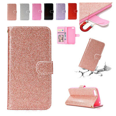 AU17.99 • Buy Glitter Leather Flip Wallet Case Cover For Huawei Nova 3i Y5 Y9 2018 P20 Lite 7A