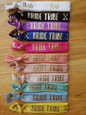 Bride Tribe Wristbands/Hair Ties/Bands Hen Party Favours/accessories 10 Colours  • 6.99£