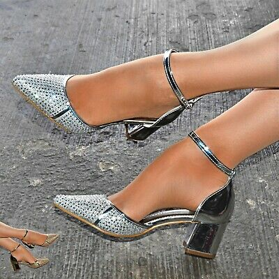 £25.18 • Buy Womens Low Block Heel Ankle Strap Shoes Diamante Metallic Pointed Sandals Size