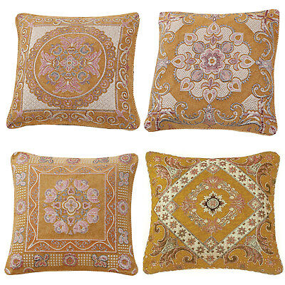 Gold Mustard Ethnic Oriental Vintage Asian Indian Brocade Cushion With Cover 18  • 7.45£