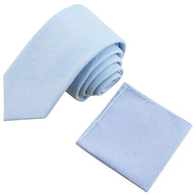 New Pale Blue Cotton Skinny Tie & Pocket Square Set. Great Reviews. UK. • 11£