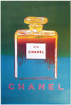 $866 • Buy Original Vintage Chanel No5 Perfume Poster Green - By Artist Andy Warhol 1995