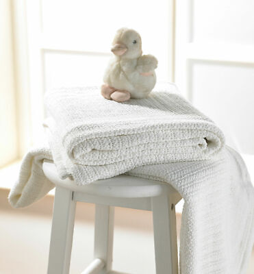 £7.99 • Buy *PURE COTTON* SUPER-SOFT Cellular Baby Blanket *Pram/Buggy/Cot* Cream Or White