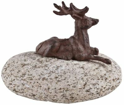 £6.75 • Buy Cast Iron Stag On A Stone Garden Ornament
