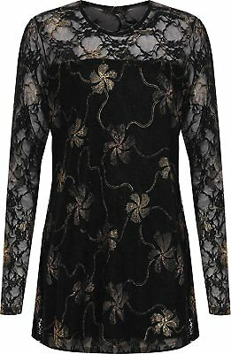 £16.95 • Buy Womens Floral Lurex Shiny Glitter Lined Tunic Long Sleeves Fancy Party Top 16-28