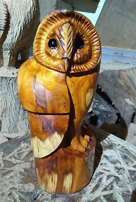 Sussex Chainsaw Carving Yew Owl Great Gift Idea Wooden Garden Or Home • 65£