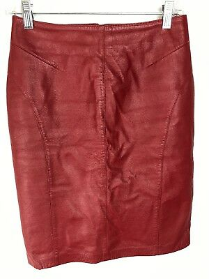 $ CDN32 • Buy DANIER LEATHER Women's Red Leather Vintage Pencil Skirt Size 4 GREAT CONDITION