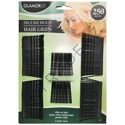 Black Hair Grips Clips Bobby Kirby Pins Clamps Salon Waved Slides 250 Pieces • 2.99£