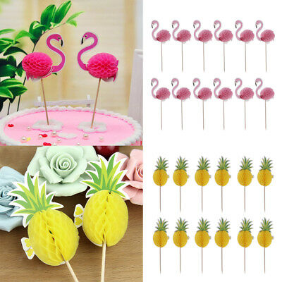 24pcs Pineapple Flamingo Cupcake Cake Topper Decor For Luau Hawaii Birthday O 356