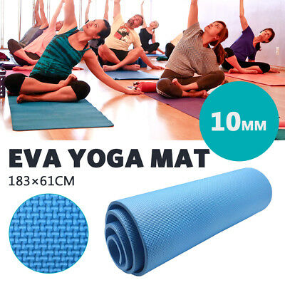 AU16.99 • Buy Yoga Mat 10mm Blue Exercise Home Gym Non-Slip EVA Fitness Thick Physio