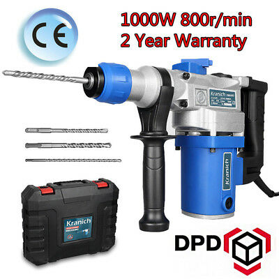 View Details ELECTRIC ROTARY HAMMER DRILL 1000W SDS IMPACT DRILL BREAKER 3 Chisel Bits &Case • 44.99£