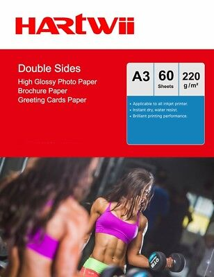 £14.49 • Buy A3 Double Sided High Glossy Photo Paper 220Gsm Inkjet Paper Prinit - 60 Sheets