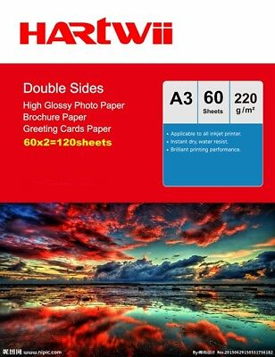 £27.49 • Buy A3 Double Sided High Glossy Photo Paper 220Gsm Inkjet Paper Prinit - 120 Sheets