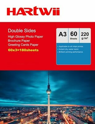 £39.79 • Buy A3 Double Sided High Glossy Photo Paper 220Gsm Inkjet Paper Prinit - 180 Sheets