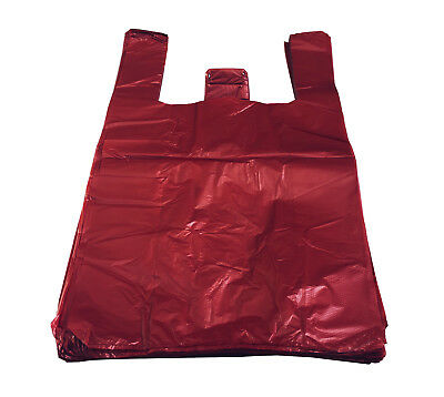RED Strong Plastic Vest Carrier Bags T Shirt Large And Jumbo 20mu  • 4.50£