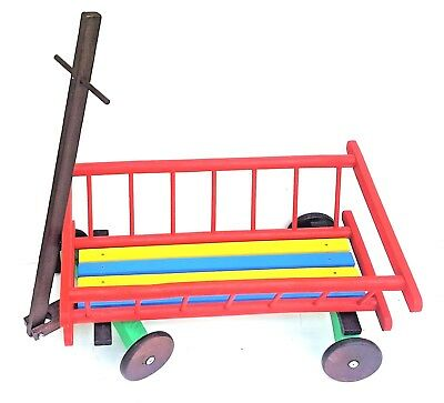 Wooden Pull Along Cart With Wheels And Handle For Toy Storage , Flower Planter  • 40£