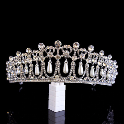 £32.03 • Buy Stunning Silver Crown/tiara With Clear Crystals & White Pearls, Bridal Or Racing