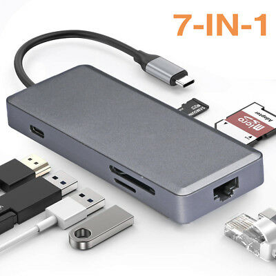 AU85.49 • Buy USB C Hub, 7-in-1 Aluminum Adapter With PD Charging Port, 4K HDMI+ RJ45 Ethernet