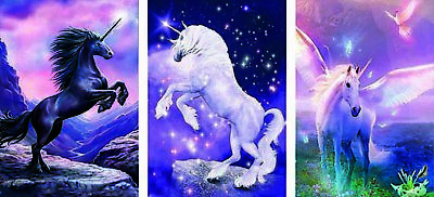 AU20.91 • Buy 3 Unicorns 3D Lenticular Poster - -12x16 Print Animated - 3 Prints In 1