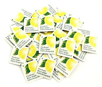 Individually Foil Wrapped Lemon Fresh Wet Wipes - Box Of 100 • 5.99£
