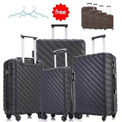 View Details 4 Piece Luggage Set Trolley Travel Suitcase ABS Hardside Nested Spinner Black • 99.90$