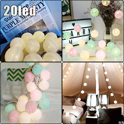 Plug-In Connectable Electric 20 LED Cotton Festoon Ball Fairy String Xmas Lights • 8.79£
