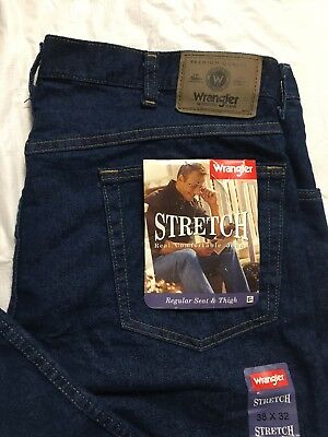 0e4b3d12 Wrangler Stretch Jeans Men's Size 38x32 Regular Fit Straight Leg Blue Denim  NWT • 33.99$