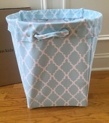 $27.99 • Buy Pottery Barn Kids Canvas Toys Tote Bin Colette Aqua Joli Blue Printed New