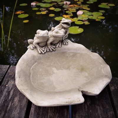 Frogs On Lily Pad Bird Bath / Bird Feeder Dish Reconstituted Stone • 23.99£