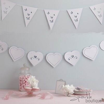 BUTTERFLY & HEART BUNTINGS - White Hanging Decorations / Banners - Wedding/Party • 2.39£