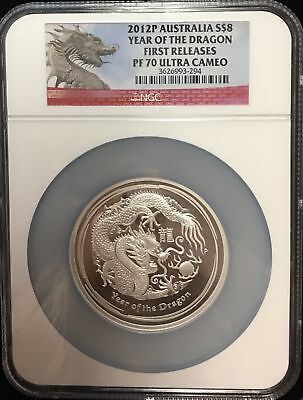 $310.75 • Buy 2012-P Australia $8 Year Of The Dragon 1st Releases NGC PF70UCAM 5oz .999 Silver