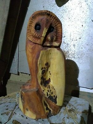 Great Christmas Gift Idea Chainsaw Carving Yew Owl  Wooden Garden  • 48£