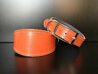 SMALL Leather Dog Collar FELT LINED Greyhound Lurcher Whippet Saluki CARROT • 8.99£
